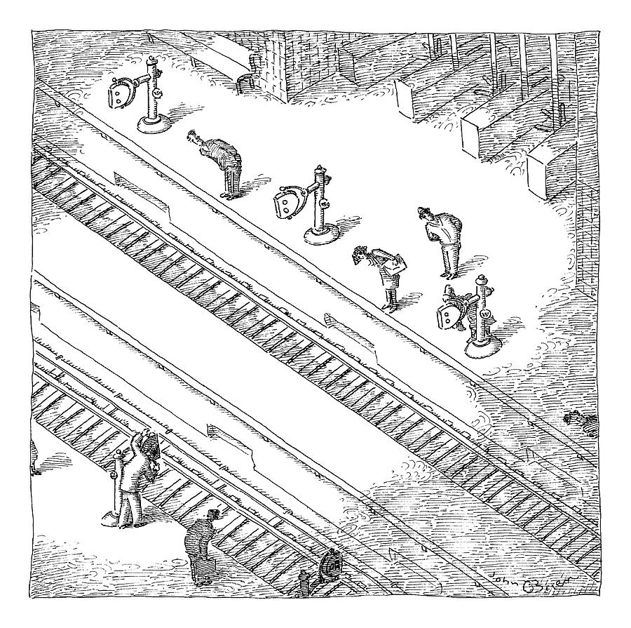 Commuters Are Seen Standing On A Train Station Drawing by John OBrien