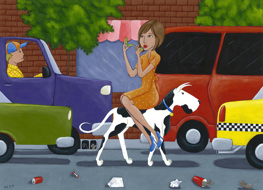 Dog Painting - Commuting by Christy Beckwith
