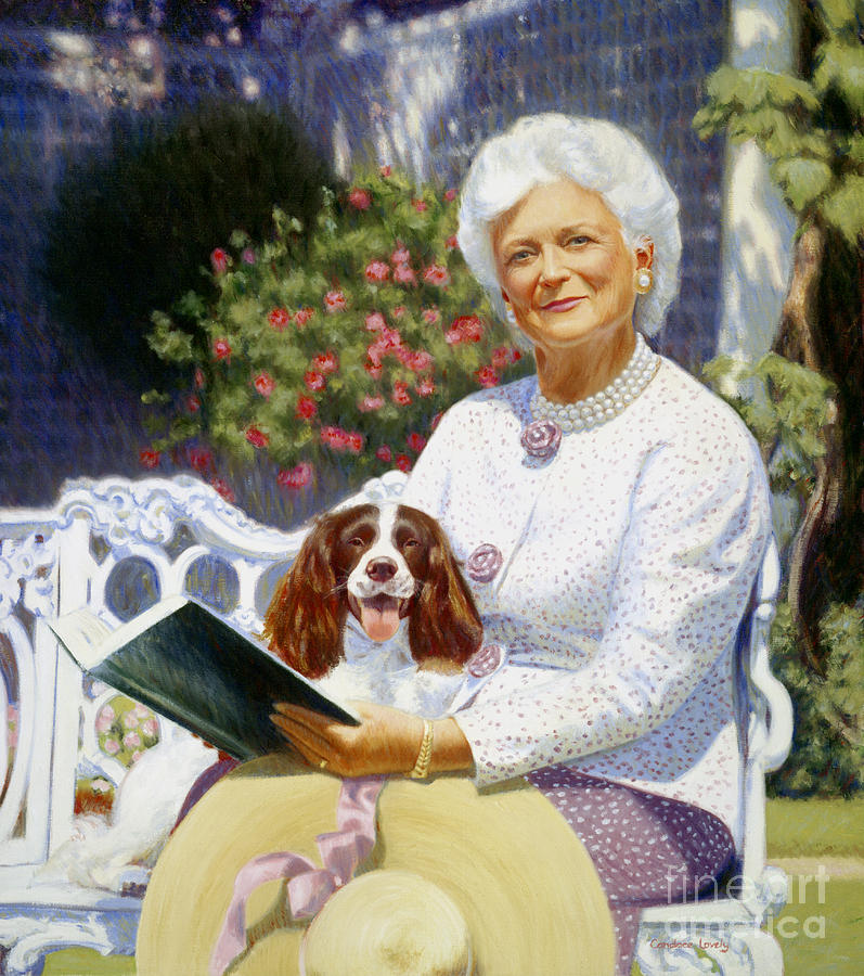 Barbara Bush Painting - Companions In The Garden by Candace Lovely