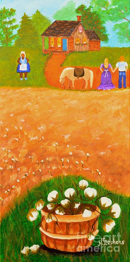Cotton Painting - Company Come To Call by Nina Stephens