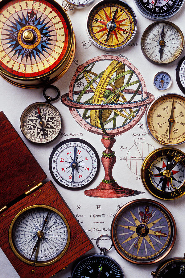 Compass Photograph - Compasses And Globe Illustration by Garry Gay