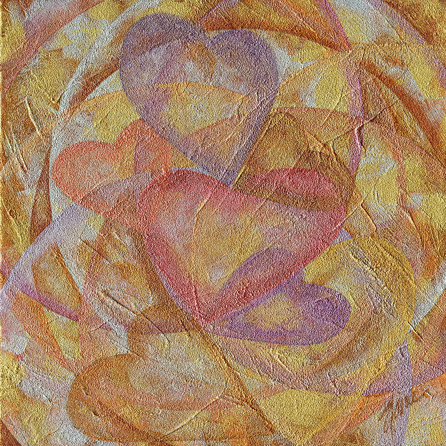 Heart Painting - Compassion 7 hearts by Elaine Allen