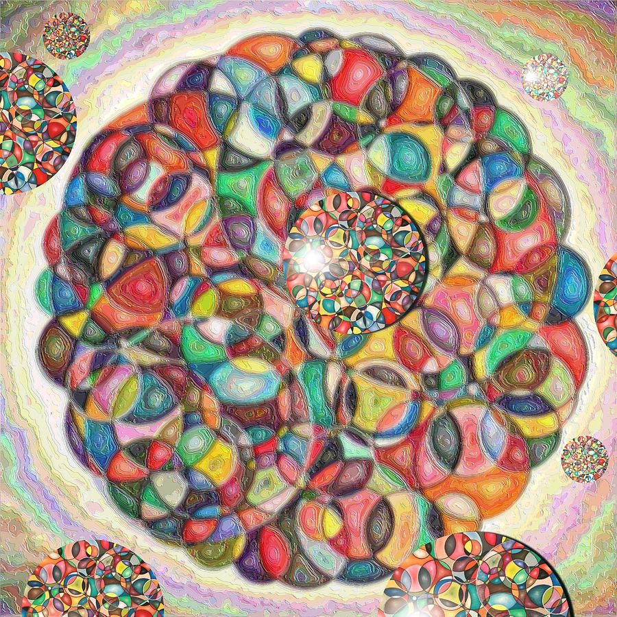 Abstract Pastel - Composition Of Circles In Circles by George Curington