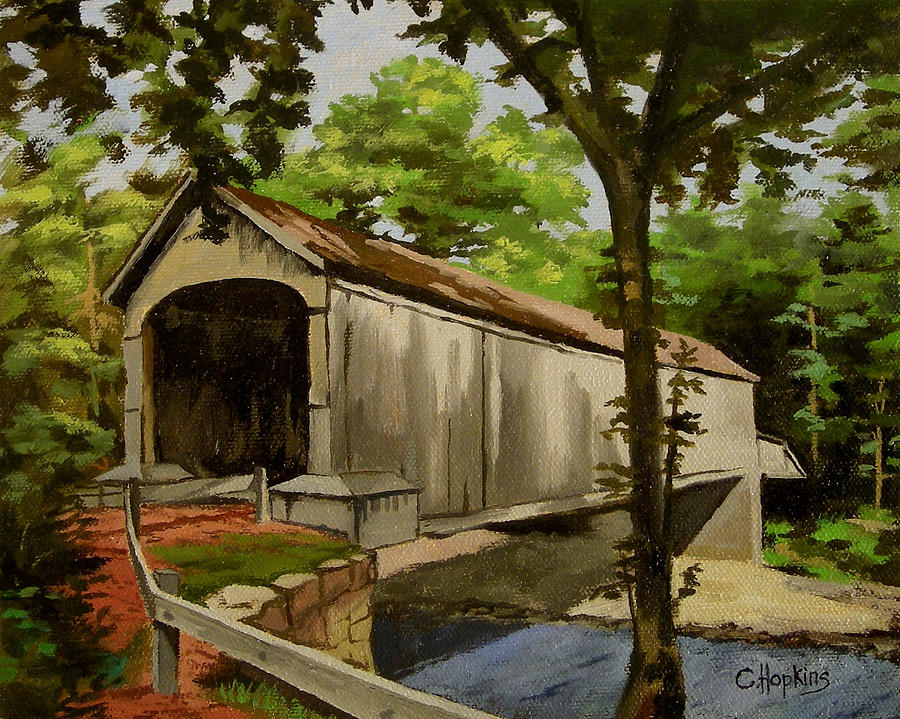 Christine Hopkins Painting - Comstock Covered Bridge East Hamptom Connecticut by Christine Hopkins