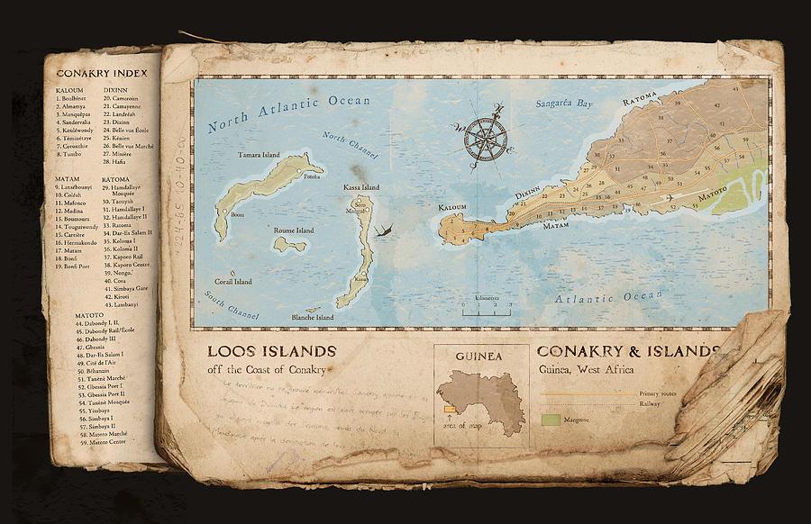 Map Digital Art - Conakry Map by Dave Kobrenski