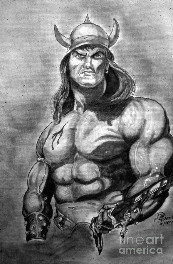 Conan Drawing - Conan The Barbarian by Bill Richards