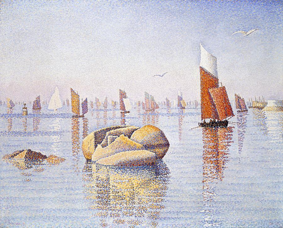 Boat Painting - Concarneau   Quiet Morning by Paul Signac