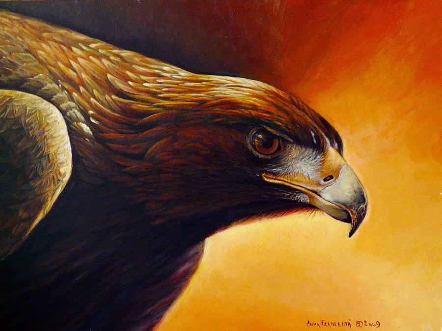 Falconry Painting - Concentration by Anna Franceova