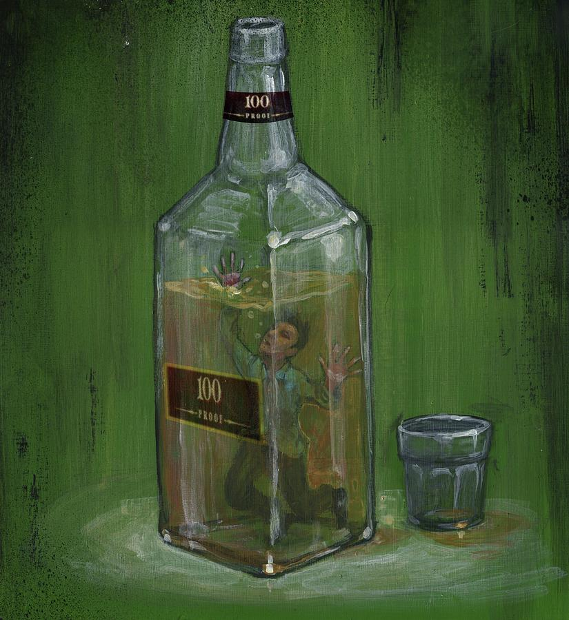 Addiction Photograph - Conceptual Illustration Of Man Drowning In Alcohol Bottle by Fanatic Studio / Science Photo Library