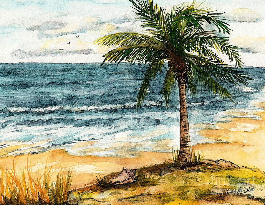 Beach Painting - Conch Shell in the Shade by Janis Lee Colon