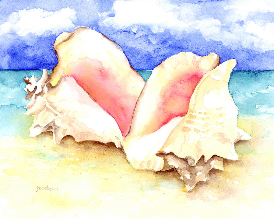 Seashells Painting - Conch Shells On Beach by Pauline Walsh Jacobson