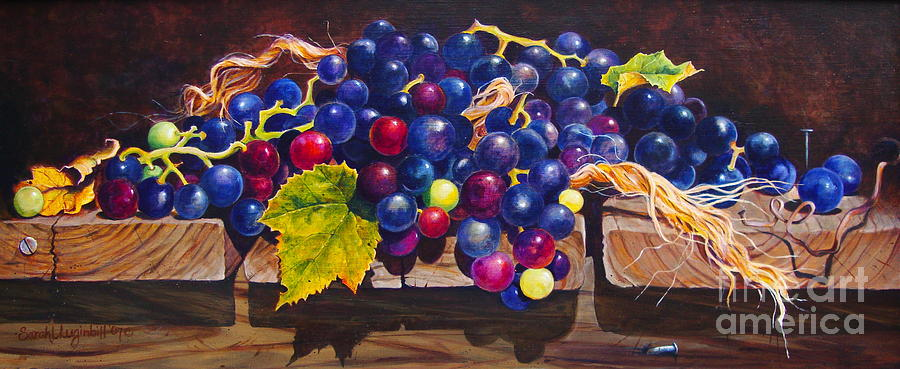 Concord Grapes On A Step Painting by Sarah Luginbill