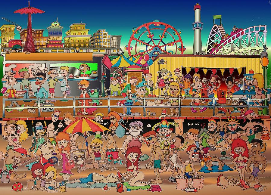 Coney Island Drawing - Coney Island Boardwalk by Paul Calabrese