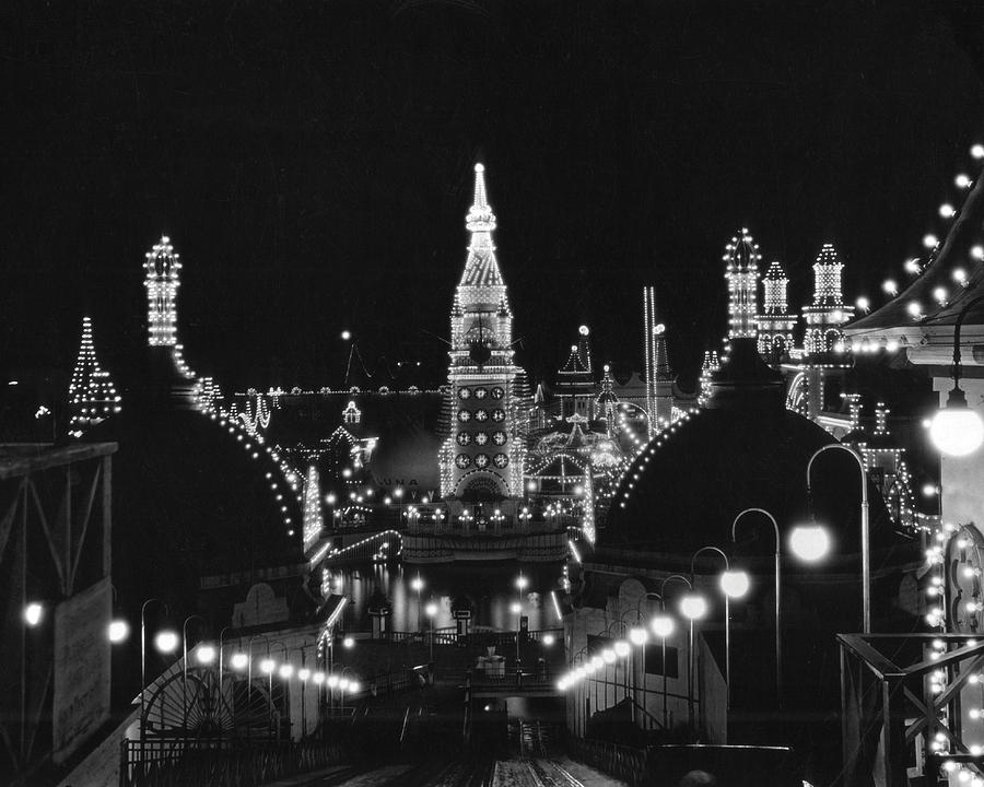 New York Photograph - Coney Island - Nighttime Roller Coaster by MMG Archives