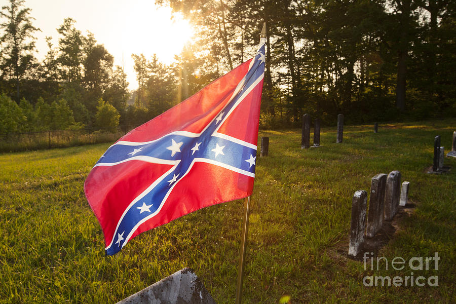 America Photograph - Confederate Flag In An Old Cemetery by Jonathan Welch