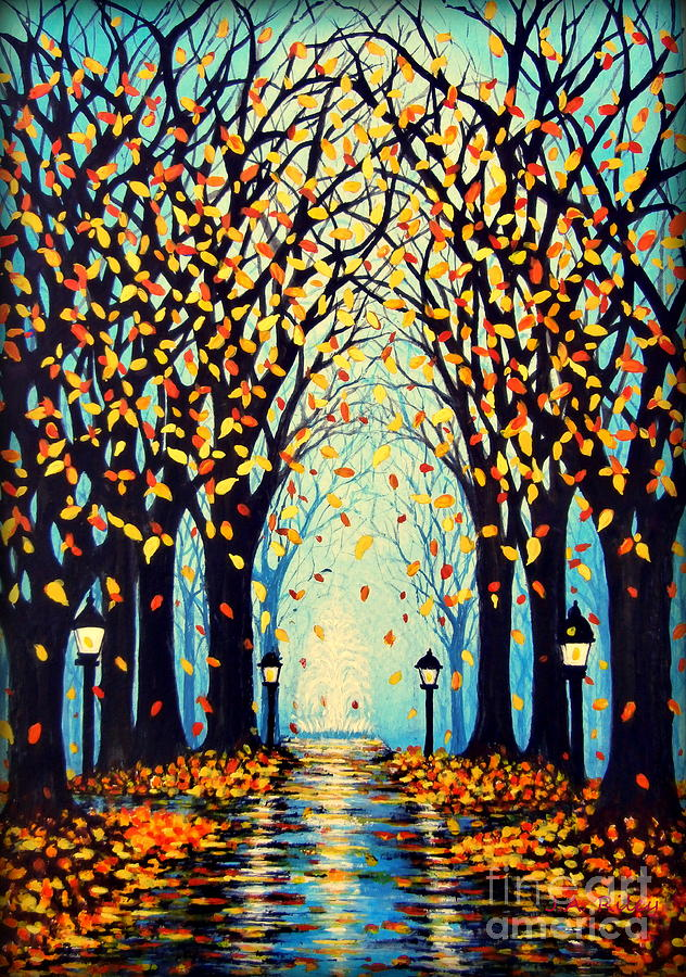 Rainy Night In A Park Painting - Confetti by Janine Riley