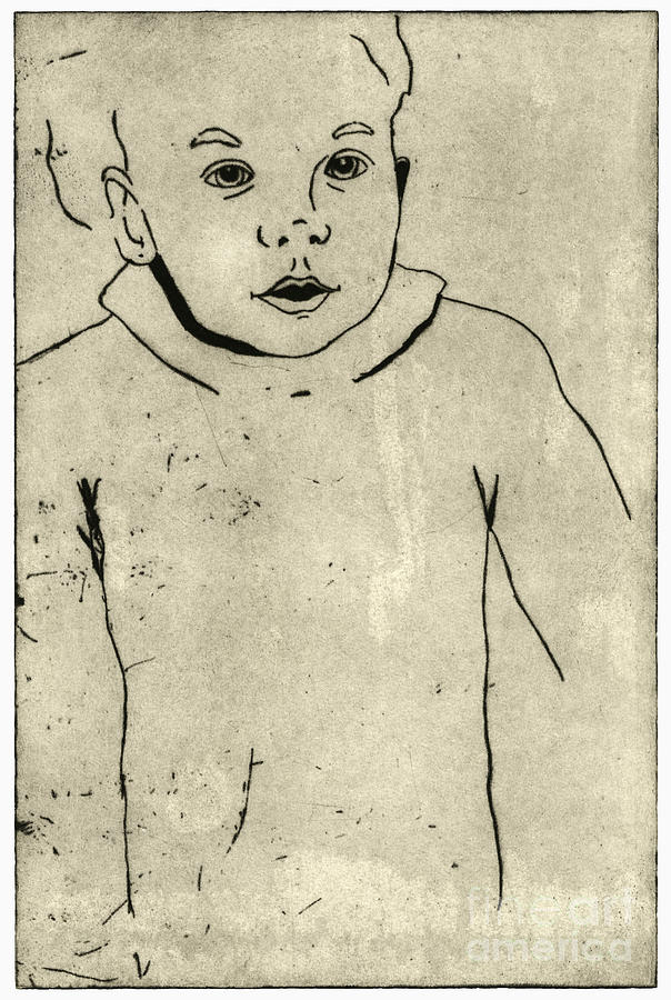 Confidence - Portrait Of A Child - Childrens World - Childs Expression - Etching Painting