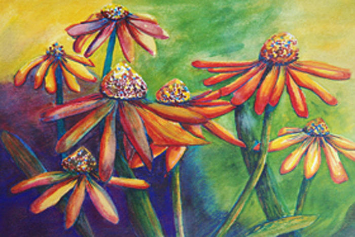 Coneflowers Painting - Conflowers by Bonnie Rodgers