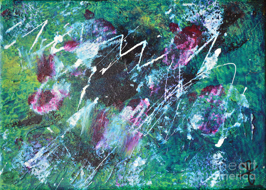 Color Painting - Connected Blue Green Abstract By Chakramoon by Belinda Capol