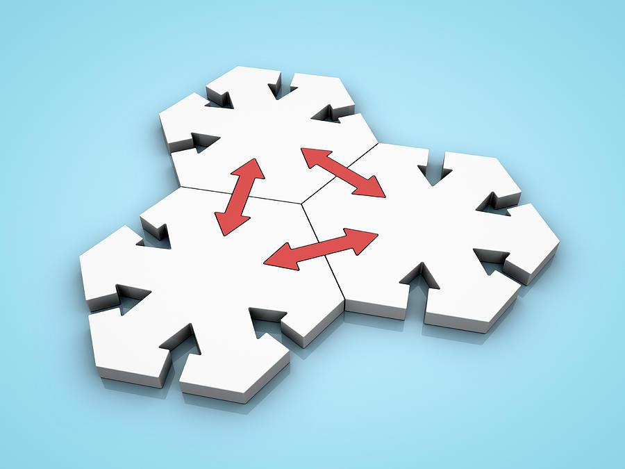 Connected Hexagons Digital Art by Jorg Greuel