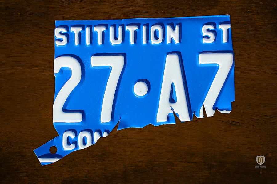 Connecticut Mixed Media - Connecticut State License Plate Map by Design Turnpike
