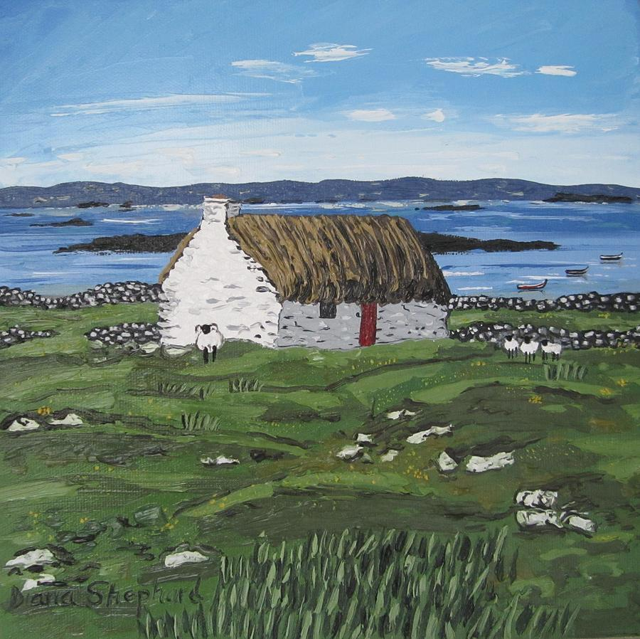Connemara Thatched Cottage With Sheep Ireland Painting By Diana