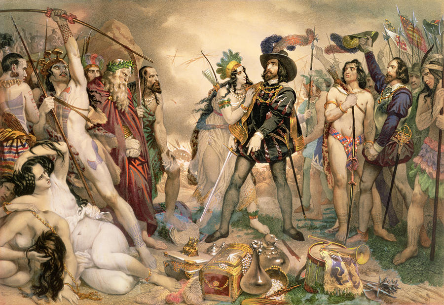 Treasure Painting - Conquest Of Mexico Hernando Cortes Destroying His Fleet At Vera Cruz by Nicholas Eustache Maurin