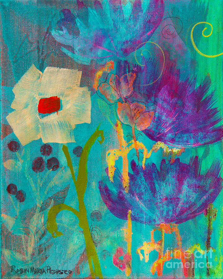 Blue Painting - Conscious Living by Robin Maria Pedrero