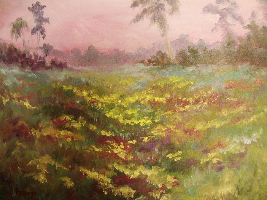 Field Of Flowers Painting - Consider How The Wild Flowers Grow by Beth Arroyo