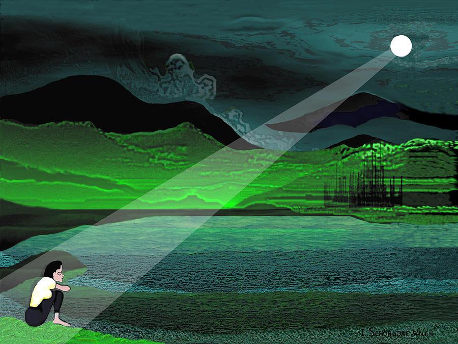 Moon Digital Art - Consolation - 695 by Irmgard Schoendorf Welch