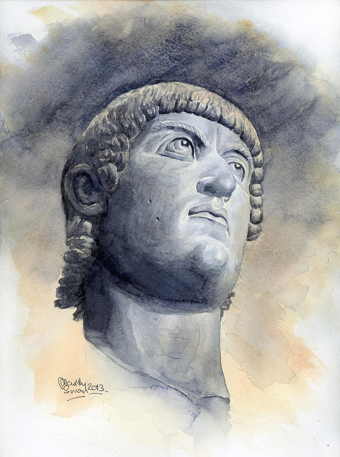 Watercolour Painting - Constantine Bronze Head by Maddy Swan