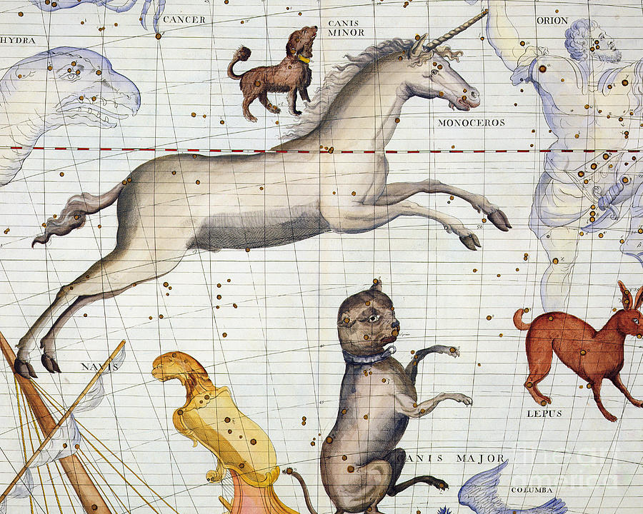 Map Painting - Constellation of Monoceros with Canis Major and Minor by Sir James Thornhill