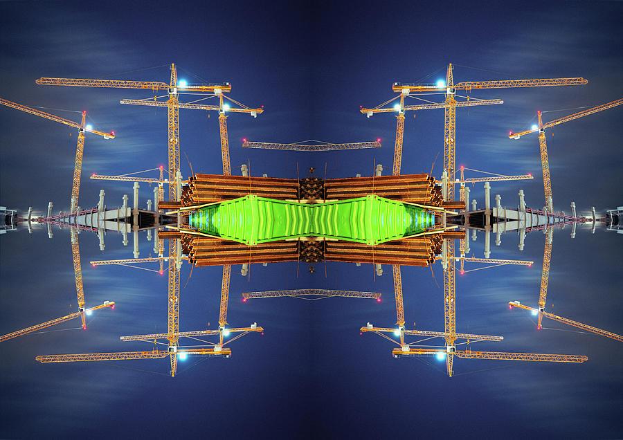 Construction Cranes Mosaic Photograph by Silvia Otte