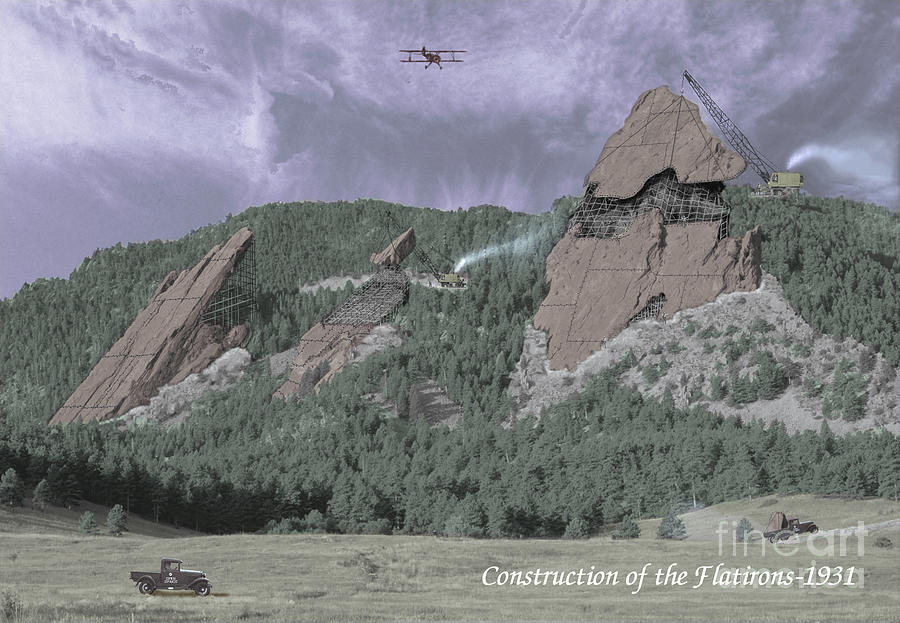 Boulder Photograph - Construction Of The Flatirons - 1931 by Jerry McElroy