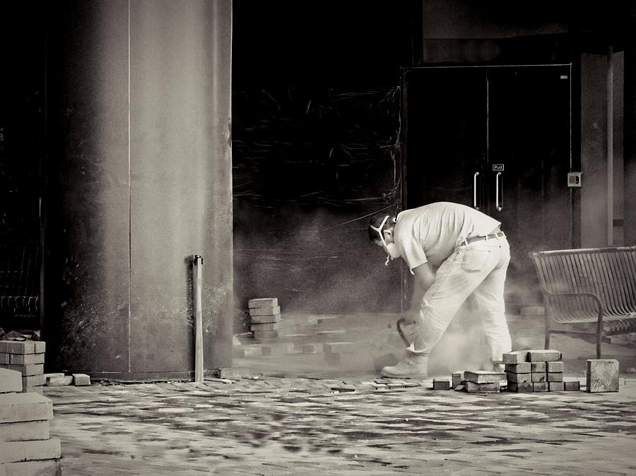 Construction Photograph - Construction Worker Bw by Rudy Umans