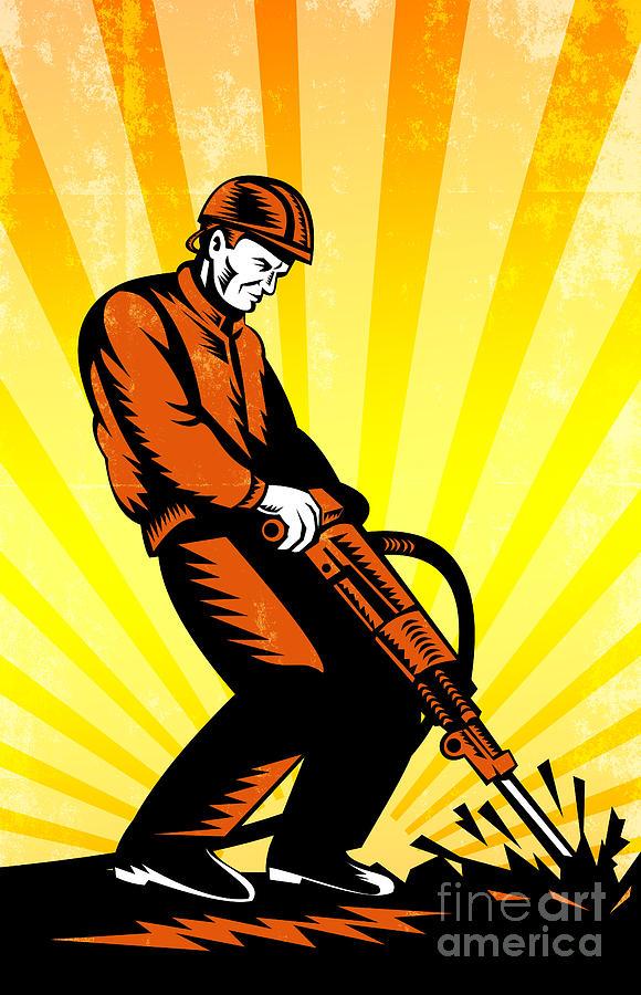 Construction Digital Art - Construction Worker Jackhammer Retro Poster by Aloysius Patrimonio