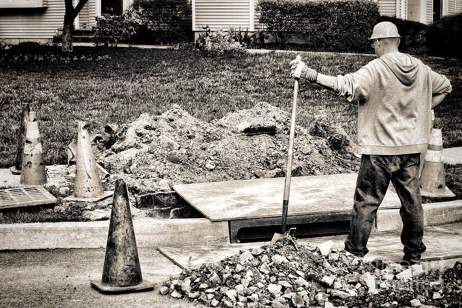 Construction Photograph - Construction Worker by Olivier Le Queinec