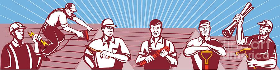 Tile Digital Art - Construction Workers Tradesman Retro by Aloysius Patrimonio
