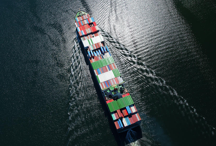 Container Ship Aerial Photo Photograph by Dan prat