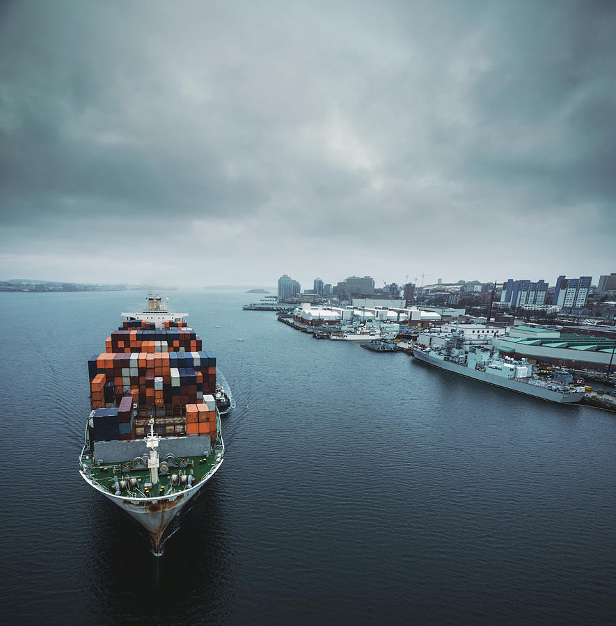 Container Ship In Halifax Harbour Photograph by Shaunl