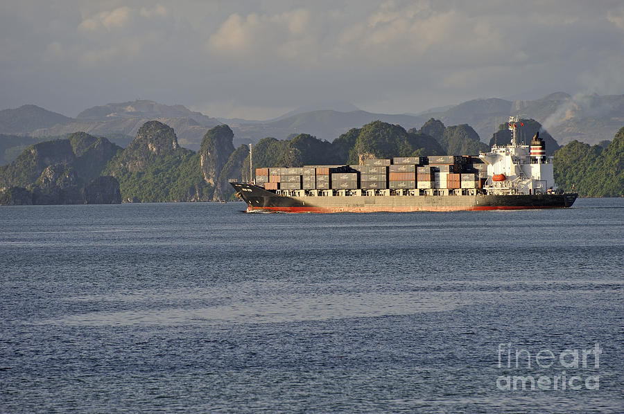 Industry Photograph - Container Ship In Halong Bay by Sami Sarkis
