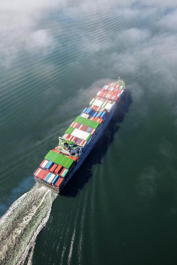 Container Ship Sailing Into Fog Photograph by Dan prat