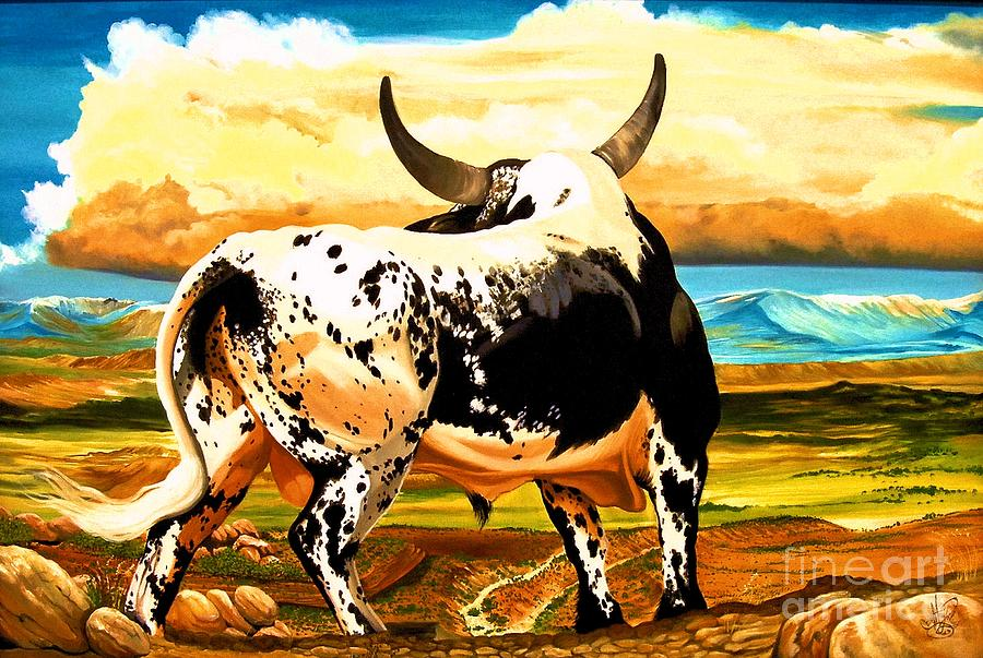 Bucking Bulls Painting - Contemplated Journey by Cheryl Poland