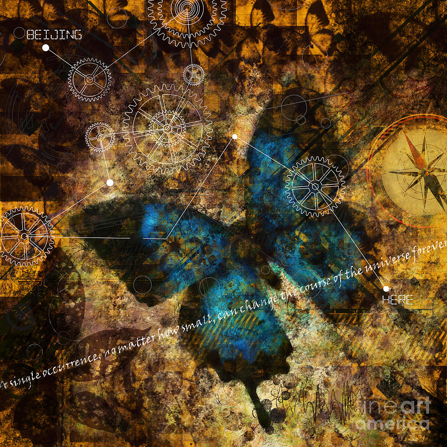Science Theory Digital Art - Contemplating The Butterfly Effect  by Nola Lee Kelsey