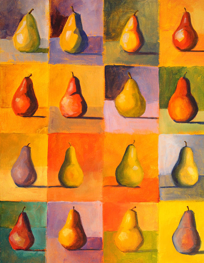 Abstract Painting - Contemplating The Pear by Nancy Merkle