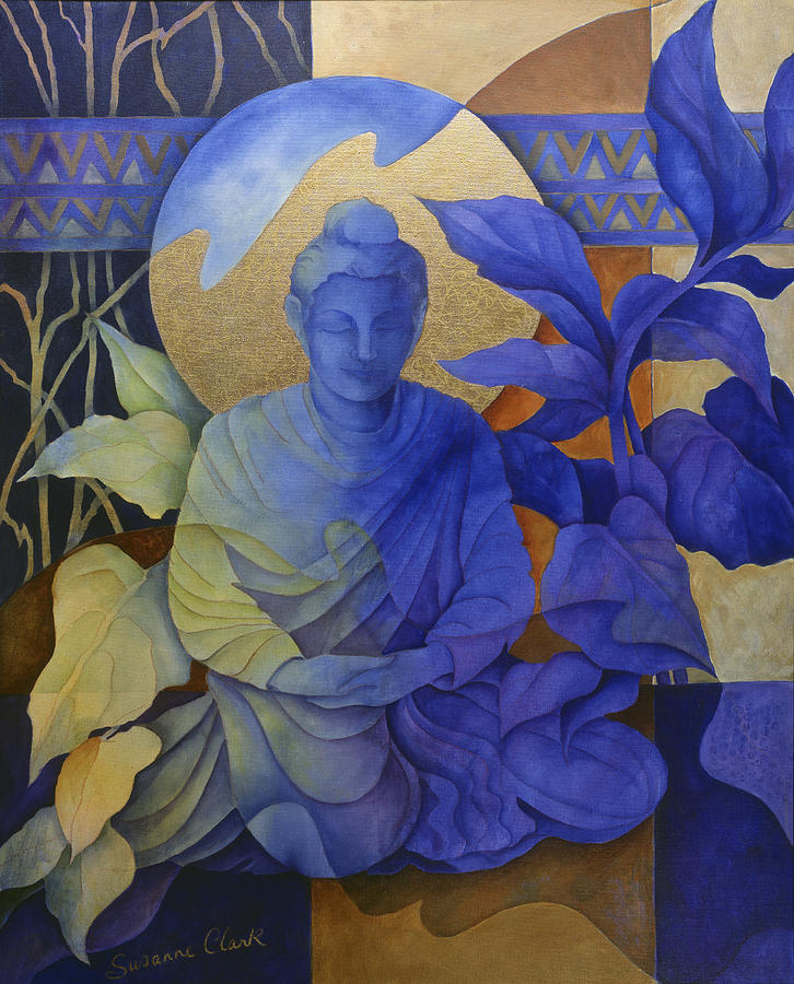 Blue buddha paintings fine art america blue buddha painting contemplation buddha meditates by susanne clark sciox Image collections