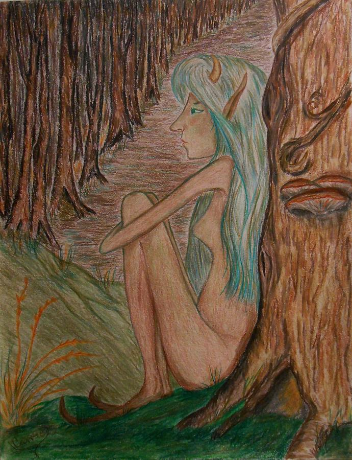 Faerie Drawing - Contemplation by Carrie Viscome Skinner