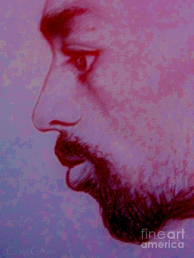 Male Profile Drawing - Contemplation by Craig Green