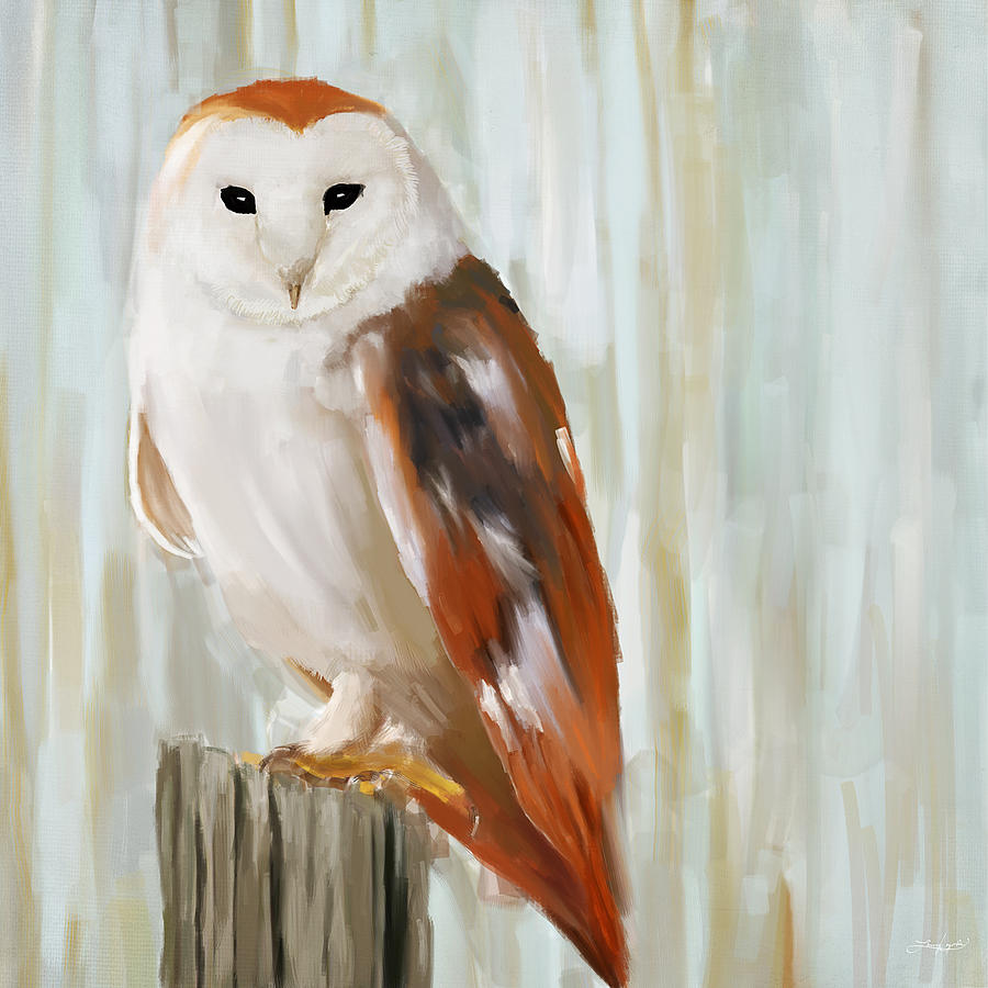 White Owl Painting - Contemplation by Lourry Legarde