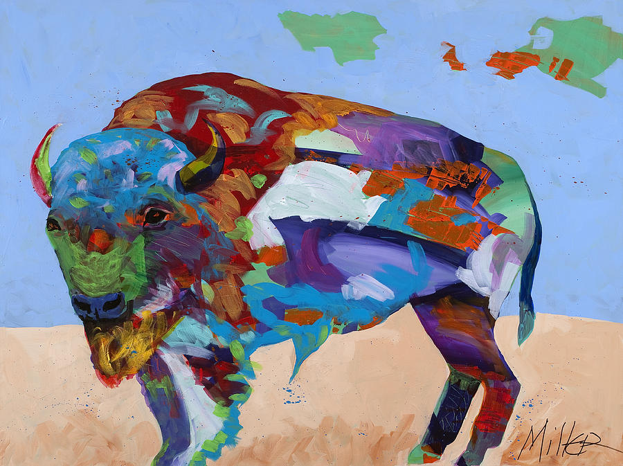 Bison Painting - Contemplation by Tracy Miller